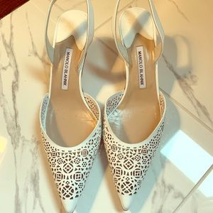 Shoes - White Manolo blahnik slingback heels